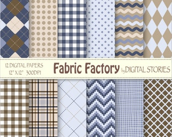 """Fabric Plaid Digital Paper: """"FABRIC FACTORY"""" Argyle Blue Brown Plaid Scrapbook Paper Pack for cards, invites, crafts"""