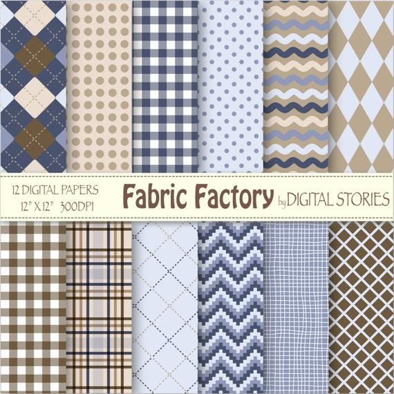 Fabric Plaid Digital Paper: FABRIC FACTORY Argyle