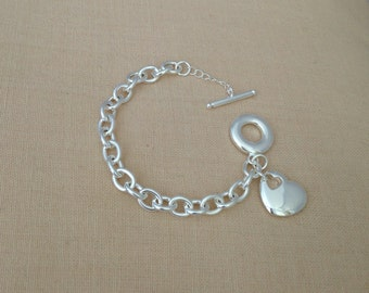Sterling Silver Heart Bracelet with heart charm (silver plated), JEW000007