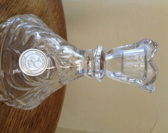 """Vintage Crystal Clear German Candle Holder 5"""" tall- Drape Pattern"""