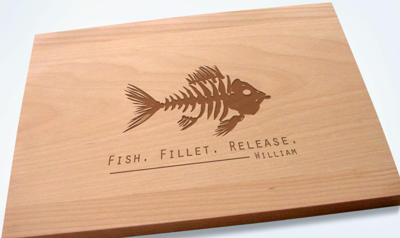 Fishing buddy 39 s cutting board or sportsman gift birthday for Fish cutting board