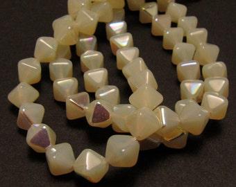 Opal Jonquil Yellow AB 6mm Bicone Czech Glass Beads 50pc #838