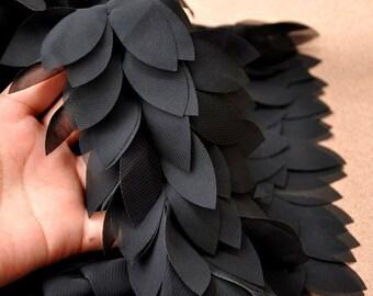3D Chiffon Lace Trim, Black Wedding Lace Bridal Sash, Wedding Accessories, Leaves Lace Trim