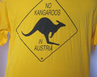 Tee Shirt Yellow Vintage-No KANGAROOS in AUSTRIA-Kangaroo Road Sign Diamond Shape Logo