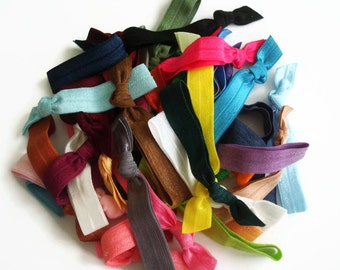 50 Hair Ties Grab Bag: 50 Elastic hair ties in random colors, fold over elastic hair ties, foe hair ties, hair ties for ponytails