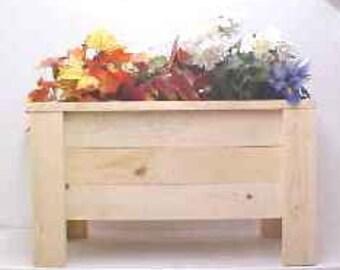 "DP-24x12x14-WL Wooden Pine Deck Planter with Legs 24"" x 12"" x 14"""