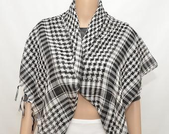 Black and white keffiyeh style scarf