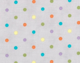 SALE!! Fat Quarter Grow With Me - Dots in Drizzle Grey - Orange Blue Polka Dot Cotton Quilt Fabric - by Deb Strain for Moda Fabrics (W204)