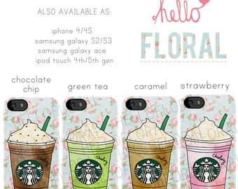 Personalised Starbucks Frappuccino floral girly iPhone 4/4S 5 5c 5s Samsung Galaxy S2 S3 s4 s5 Ace iPod Touch 4th 5th hard case