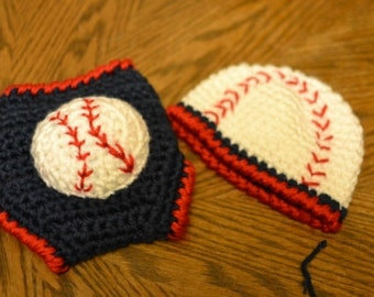Crochet Baseball Hat and diaper cover