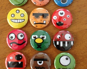 Cute Monster Buttons - 1 Inch  Pinback Button Set of 12 Colorful Monsters