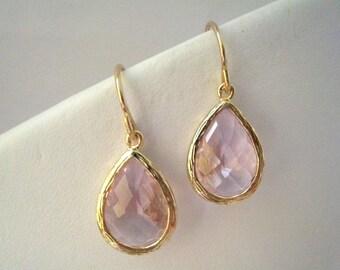 Pink Glass Teardrop Gold Earrings, Bridesmaids Gifts, Modern, Gemstone,Glass Earrings, Drop, Dangle