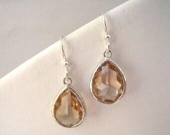 Peach Glass Teardrop Silver Earrings, Bridesmaids Gifts, Crystal Glass Earrings, Bridesmaid Peach EarringsTear Drop, Dangle