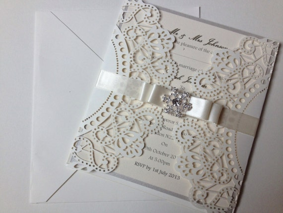 Laser Cut Out Wedding Invitations: Items Similar To Laser Cut Wedding Invitation Sample With