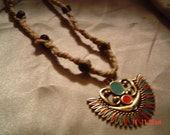 Hemp necklace Goldtone pendant turquoize red suede women men gift OOAK Handmade Jewelry