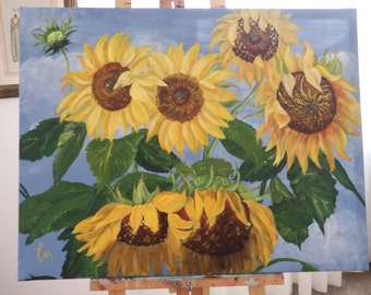 Original Large Oil Painting .Sunflower.