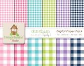 Gingham Digital Paper Pack Instant Download Digital Scrapbooking Basics Girly Style