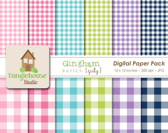 Gingham Digital Paper Pack Instant Download Digital Scrapbooking Basics Girly Style