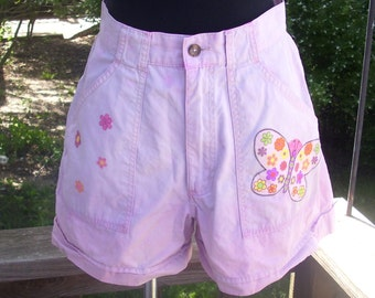 Pink Shorts, Butterfly Shorts, Studded Shorts, High Waisted Flower Shorts, Upcycled Shorts, Indie Clothing, Dip Dyed Shorts, Size 8