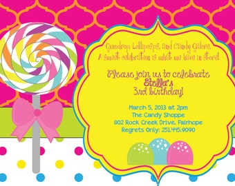 Sweet as Candy Candyland invitations