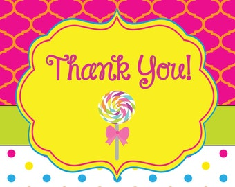 Sweet as Candy Candyland Thank You notecard