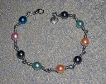 Czech Glass Pearls with Silver Wire Bracelet