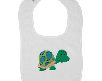 Patterned Turtle Embroidered Terry Cloth Bib