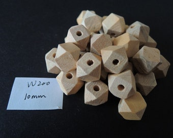 25 Pcs Unfinished  Faceted Natural Wood Beads 14 Hedron Geometric Figure Wooden beads -10mm  (W200)