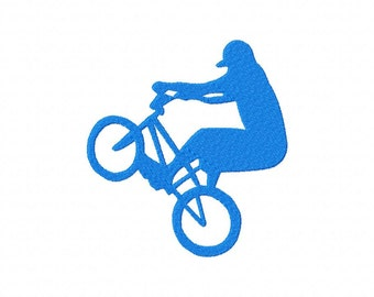 INSTANT DOWNLOAD BMX Bike Bicycle Silhouette Machine Embroidery Design