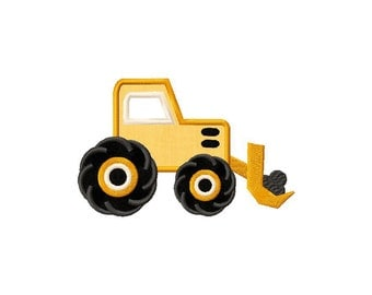 INSTANT DOWNLOAD Bulldozer Construction Truck Machine Embroidery Design Includes Both Applique and Filled Stitch