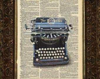 Antique typewriter on Antique Dictionary Page, art print, Wall Decor, Wall Art Mixed Media Collage Buy2get1free