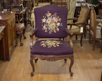 Antique French Purple Walnut Begere Needlework Arm Chair