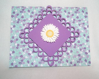 Purple Flower Lace Greeting Card Set of 6