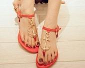 black red blue Leather flat sandals  sandasl shoes  anchor  women shoes women  flat shoes low sandal shoes