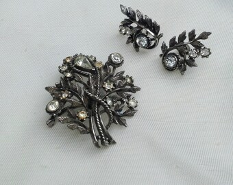 Vintage Signed Coro Silver & Rhinestone Pin and Screw Back Earrings Set