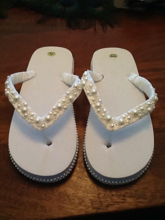 items similar to just married bridal flip flops on etsy. Black Bedroom Furniture Sets. Home Design Ideas