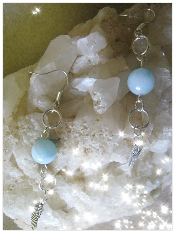 Handmade Silver Earrings with Amazonite & Feather by IreneDesign2011