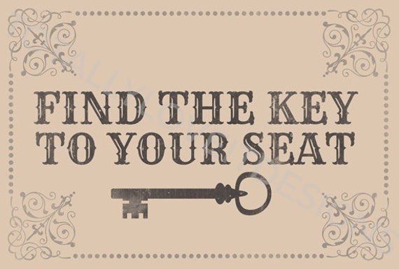 Items similar to Find The Key to Your Seat Printable on Etsy