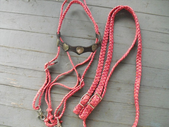 pink paracord bridle by spitfiretack on etsy