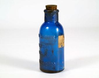 Vintage Small Blue Bromo-Seltzer Glass Blue Bottle