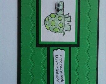 Turtle Hand Made Get Well card