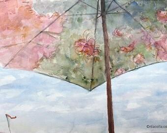 1:00 Umbrella orginal watercolor painting 20 x 16