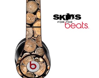 Wood Log Ends Skin for the Beats by Dre Studio, Solo, MIXR, Pro or Wireless Version Headphones