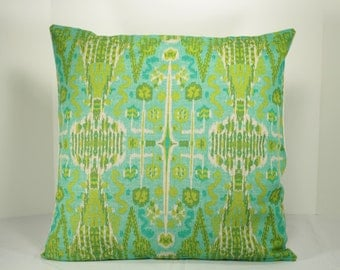 """20"""" x 20"""" Ikat  """"BOMBAY"""" Pillow Cover -Designer  fabric - Back fabric-Solid (Natural)"""