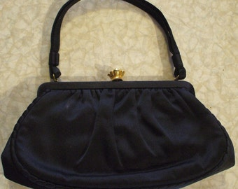 SALE - Vintage Black Gabardine L & M Handbag by Edwards - 40's
