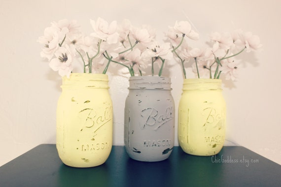 ON SALE Yellow and Gray Wedding Decor,3 Mason Jars,Nursery Decor,Summer Wedding,Centerpiece,Ceremony Decor,Table Centerpiece