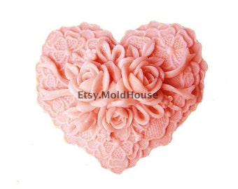 Roses In Heart Flexible Silicone Mold Silicone Mould Soap Mold Polymer Clay Mold Resin Mold wm119