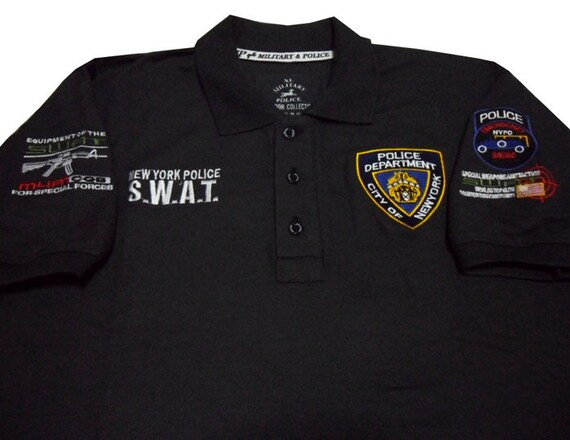 Men casual m4a1 cqb swat team usa new york police team nypd for Embroidered police polo shirts
