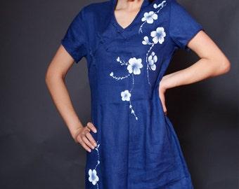 Maxi Dress Summer Dress Long Dress Hand Painted Navy Blue Dress with White Flower Party Dress Summer Dresses Day Dress