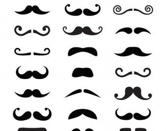 Mustache decals, sheet of 24 different mustaches, vinyl mustache stickers, mustache party